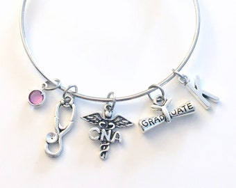 Graduation Gift for CNA Bracelet Jewelry, Certified Nursing Assistant Charm Bangle, Silver Medical Caduceus Stethoscope birthstone initial
