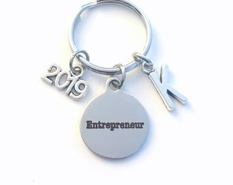 New Business Owner Keychain, 2019 Gift for Entrepreneur Key Chain, Start up Venture opening Initial Present Jewelry Keyring women men him