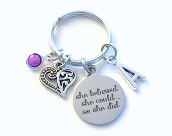 New Career Gift for Job Promotion Keychain, She believed she could so she did Key chain, Heart keyring ring Initial women her birthstone mom