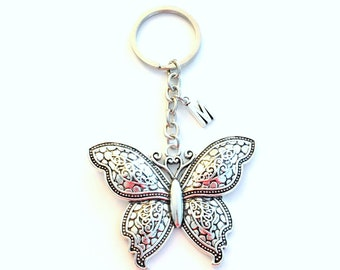 Large Butterfly Keychain, Butterflies Key chain, Detailed Wing Flying Animal Key Ring, Silver Jewelry birthstone initial gift for Gardener