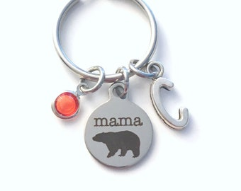 Mama Bear Keychain, Gift for Mom Key Chain, Mother's Day present Keyring Mommy from her kids child children anniversary wife hockey football