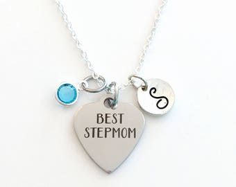Best Step Mom Necklace, Stepmom Jewelry, Gift for Mother's Day Present from Step Kids Birthstone initial letter her women long personalized