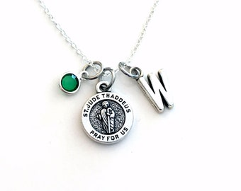 St. Jude Necklace for Women or Men / Girl or Boy, Saint Gift Son Daughter Jewelry charm him her religious medallion Judas Thaddeus Get well