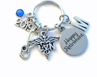 Retirement Gift for LVN Keychain, 2019 Licensed Vocational Nurse Key Chain, Stethoscope Keyring for her men letter initial him Nursing women