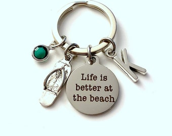 Life is Better at the Beach Key Chain, Silver Beach Keyring, Flip Flop Keychain, Gift for Best Friend, Mom, Daughter, Mommy, Mother Flipflop