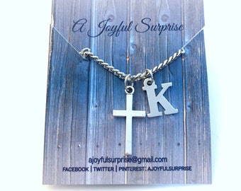 Cross Necklace for Men / 3mm Stainless Steel Curb Chain / Man Christian Jewelry / Religious Gift for Boy / Confirmation Father Day Present