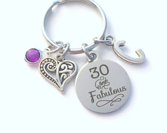 Gift for Thirtieth Birthday Keychain, Thirty and Fabulous Key Chain, 30 30th her Birthstone Initial Present Jewelry Women Age best friend