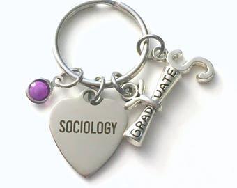 Sociology KeyChain, Gift for Social Worker Graduation Present, Sociologist Key Chain Keyring Jewelry Initial Birthstone present women men