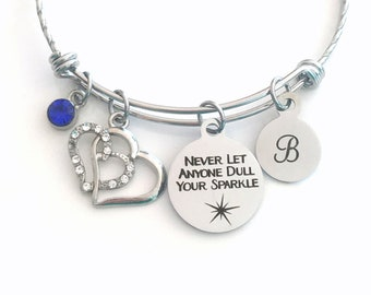 Never Let anyone dull your sparkle Bracelet, Teenage Girls Jewelry, Gift for Teen Daughter Teenager Christmas present Ornate Stainless Steel
