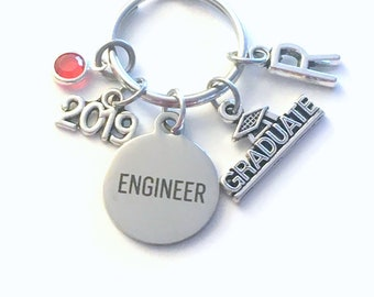 Graduation Present for Engineer Key Chain, 2019 Science Keychain Women Girl her Grad Keyring Jewelry Initial Birthstone him her men Graduate