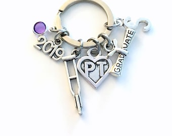 Graduation Gift for PT Keychain, 2019 Physical Therapist Key Chain, Therapy Keyring for her women letter initial Scroll Crutches Crutch
