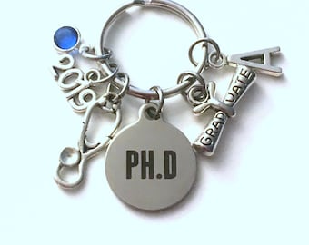 Graduation Gift for PH D Keychain, 2019 Key Chain, PHD Doctor Physician GP nurse Initial Birthstone Grad Present Keyring 2020 women her dr