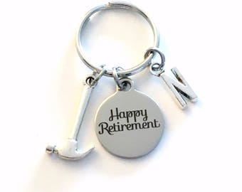 Retirement Gift for Dad, Handyman Keychain, Construction Worker Key chain, him Boss Keyring Key ring Retire Coworker Initial letter men