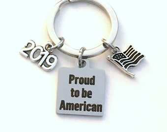 Gift for Immigration Ceremony Keychain, New Citizen Key chain, Proud to be American keyring, 2019 USA Present silver Flag Charm him men man