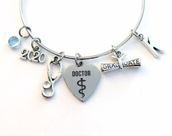 Doctor Graduation Bracelet, 2020 Medical Student Present Gift for Resident Grad Silver Bangle PH. D Jewelry Dr initial birthstone her