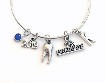 Dental Hygienist Graduation Bracelet Dentist Gift 2019 RDH DH Surgeon Orthodontist Silver Jewelry Personalized Initial DDS