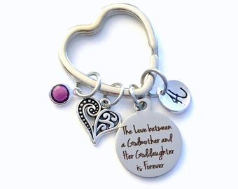 Gift for God Daughter KeyChain, The Love between a Godmother and Goddaughter is Forever Key Chain, Niece keyring Birthstone Initial Present