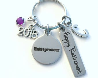 Retirement Gift for Entrepreneur Keychain, 2019 Business Owner Keyring Retire Key Chain Present him her women Men New Start up Venture