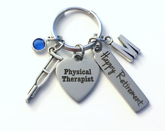 Retirement Gift for PT Keychain, Physical Therapist Key Chain Therapy Keyring him her men women present Retire crutch charm Birthstone