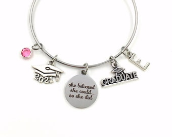 She believed she could so she did Graduation Gift / 2021 Grad Cap Charm Bracelet / School Student Jewelry / Silver Bangle / College for her
