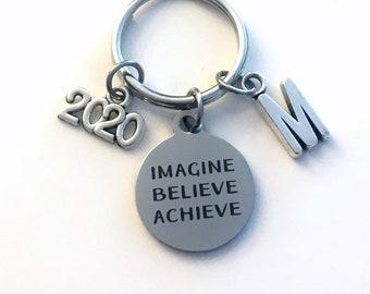 Imagine Believe Achieve Keychain, 2020 Gift for Him Key chain, Keyring women letter initial custom Men College University New Job Promotion