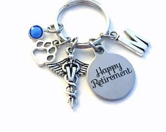Retirement Gift for Vet Keychain, Caduceus Medical Animal Doctor Veterinarian Key chain Keyring Initial letter V women men him her pet