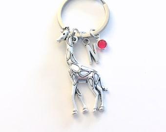 Giraffe KeyChain, Giraffe Keyring Animal Key chain, Large Giraffee Jewelry Personalized Initial Birthstone birthday present Christmas Gift