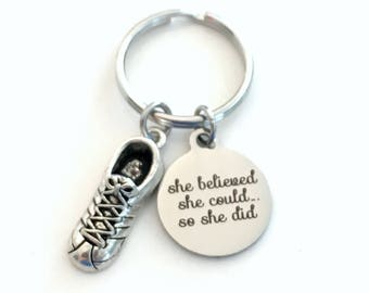 First Marathon Keychain, Running Key Chain She Believed She could she did Gift Track for Run Keyring Runner Cross Country Shoe long distance