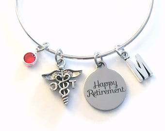 Retirement Gift for OT Bracelet, Occupational Therapy Jewelry, Therapist Charm, Silver Medical Caduceus women birthstone initial letter her