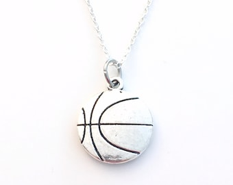 Basketball Necklace, Basket Ball Jewelry, Gift for Teenage Boy Men High School Junior Team Silver Ball Charm Pendant birthday Christmas man