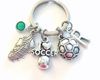 Gift for Soccer Player Keychain, I love Soccer Key Chain, Teenage Boy Girl Teenager, Cleat Ball Keyring, Jewelry initial birthstone present