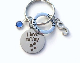 Tap Dance Key Chain, I love to Tap Keychain, Gift for Dancer Daughter Son, Circle Keyring Street present girl boy Teacher concert recital