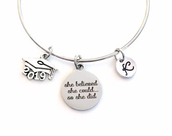 Graduation Bracelet / 2019 Mortarboard Grad Cap /  Gift for College Graduate Jewelry / She believed she could so she did