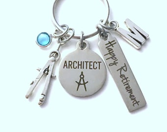 Retirement Gift for Architect Key Chain, Compass Keychain, Drafting Keyring, him her women Men Coworker Boss Firm Employee professional