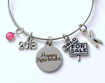 Retirement Gift for Real Estate Salesperson Charm Bracelet, Realtor Jewelry Silver Bangle, Sales women Saleswomen initial birthstone Present
