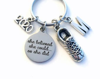 2020 Gift for Marathon Training keychain, She believed she could so she did key chain 2019 Keyring Customized letter him her sneaker run men