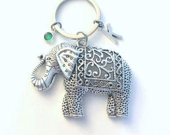 Elephant Keychain, Large Animal Key Chain, Strength Friendship Gift Keyring, Fancy Cutout Design, Ancient Zoo theme Birthday Present Nature