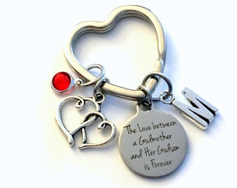 Godmother Gift from Godson KeyChain, The Love between a Godmother and Godson is Forever Key Chain son mom keyring Birthstone Initial Present