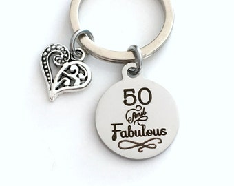 50th birthday gift for women Keychain, 50 and Fabulous Key Chain, her Fifty Present Jewelry Mother Age Mom Best Friend