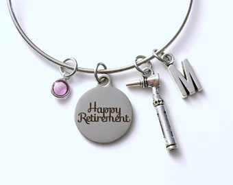 Retirement Gift for Otolaryngologist, ENT Otoscope Audiology Charm Bracelet Jewelry Silver Bangle Doctor letter initial birthstone Present
