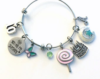 You are my Sunshine Charm Bracelet / 10th Birthday Gift for Girl Jewelry / 60mm Turning 10 Present for Her / Daughter Granddaughter Cake