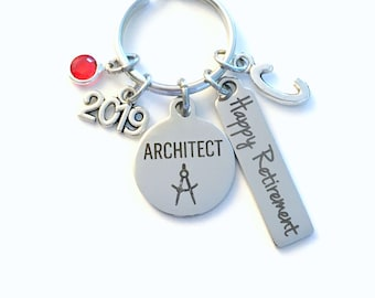 Architect Retirement Present, 2019 Architecture Keychain Gift for Architectural Technology Retire, Key Chain Keyring him her men women 2020