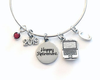Retirement Gift for Women, Computer Engineer Business Owner Charm Bracelet Jewelry Silver Bangle Coworker letter initial birthstone Present