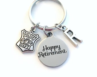 Retirement Gift for Police Officer Keychain / 2021 Policeman Key Chain / Policemen Keyring / Him Her Retire Coworker Chief Sgt Present