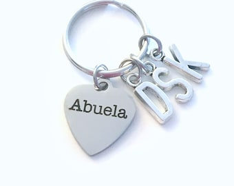 Abuela KeyChain, Multiple letters Gift for Grandmother Key Chain, Spanish Grandma Present, Initial 2 3 4 5 6 7 8 9 from Grandchildren kids