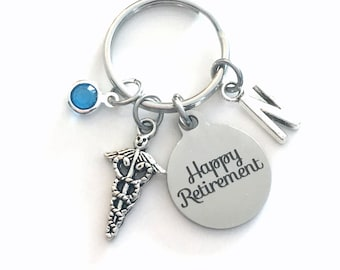 Laboratory Tech Keychain, Retirement Gift for Medical Technician Key Chain, Caduceus Keyring Initial letter men women her him birthday happy