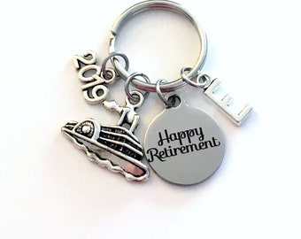 Happy Retirement Gift Keychain, Retire Coworker Key chain, Gift for Boss Keyring Initial letter custom 2020 2019 present cruise ship Her him