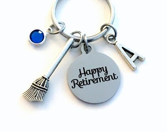 Retirement Gift for Cleaner / School Janitor Key Chain / Maintenance Worker Keyring / Happy Retirement Present for custodian / broom charm