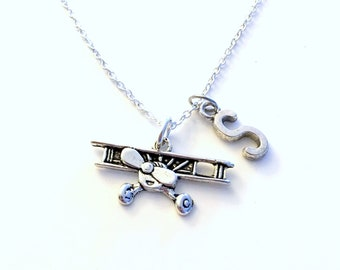 Gift for Air Pilot Necklace, Flight Attendant Jewelry, Propellor Airplane Jewelry, Silver Plane Charm, Private Stewardess Travel Agent her