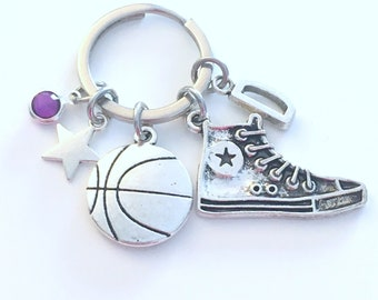 Gift for Basketball Player Keychain, Basketball Key Chain, Teenage Girl Boy, Sneaker Shoe Star Keyring Jewelry initial birthstone present